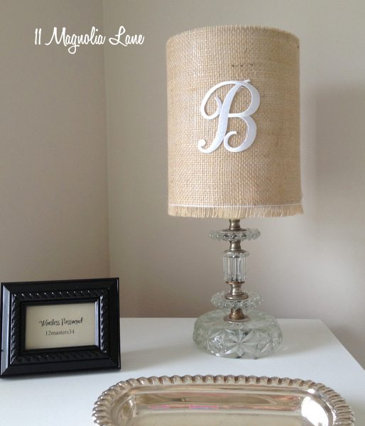Monogrammed burlap drum lamp shade at 11 Magnolia Lane