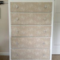 Fabric covered dresser at 11 Magnolia Lane