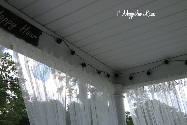 Outdoor grapevine lights on porch