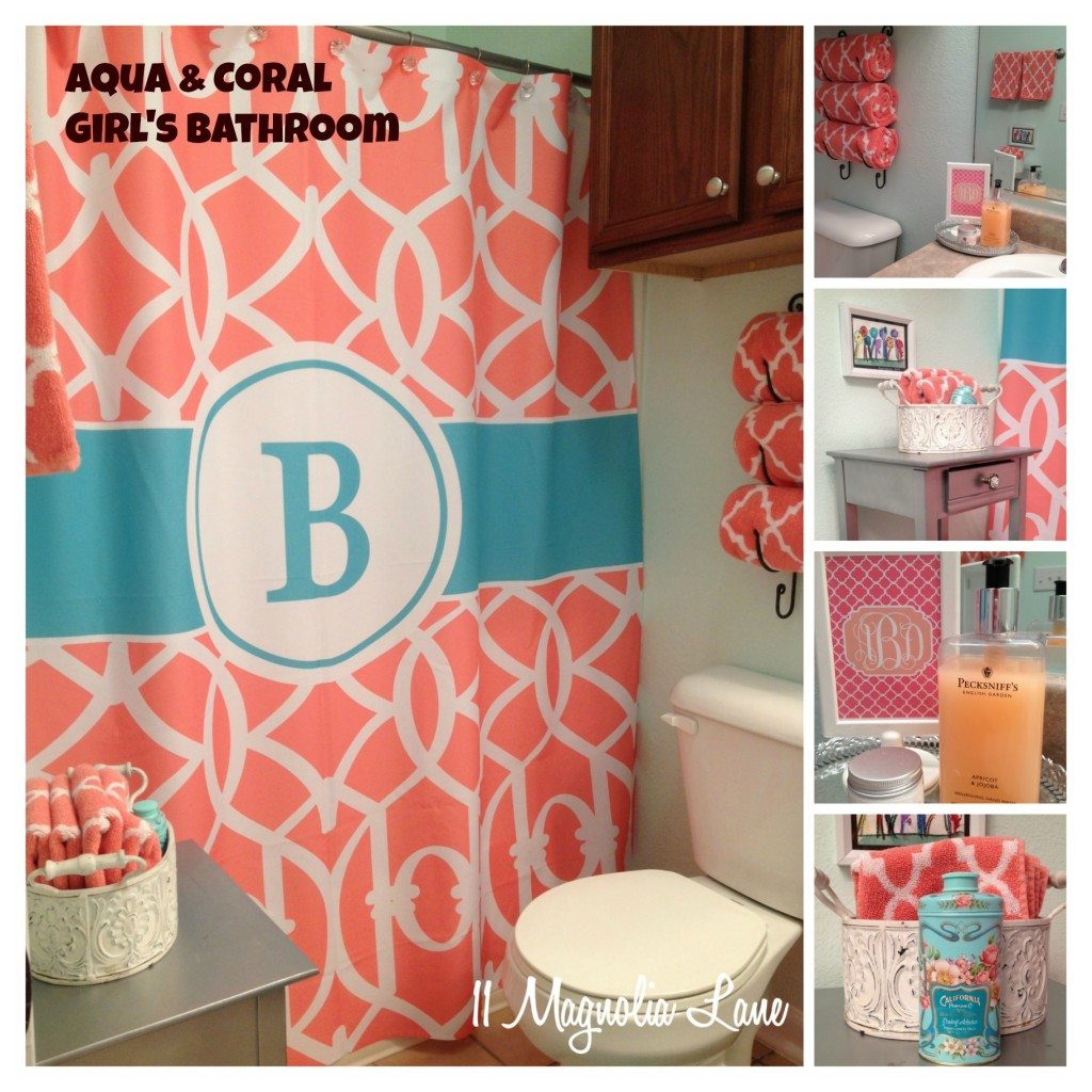 Our New Home Girl S Bathroom In Aqua And Coral 11