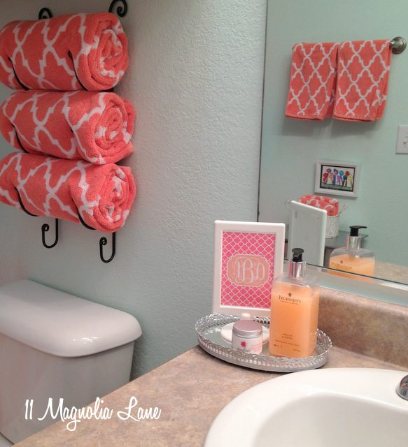 our new home girl 39 s bathroom in aqua and coral 11 magnolia lane. Black Bedroom Furniture Sets. Home Design Ideas