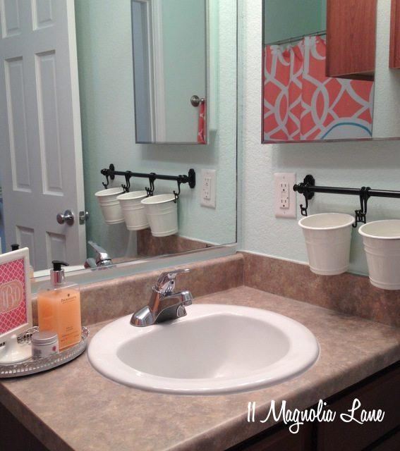 Our new homegirl39s bathroom in aqua and coral 11 for Aqua and coral bathroom