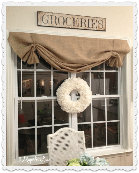 Burlap Valances For Windows : Tutorial how to make a no sew diy burlap window valance