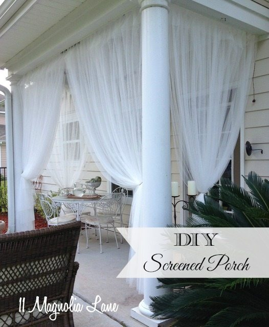 "Update on My ""DIY Screened Porch"" Sheer Curtains–18 months later"