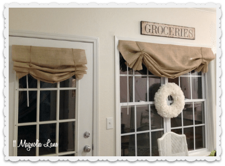 Curtains Ideas burlap sack curtains : Tutorial: How to Make a No-Sew DIY Burlap Window Valance | 11 ...