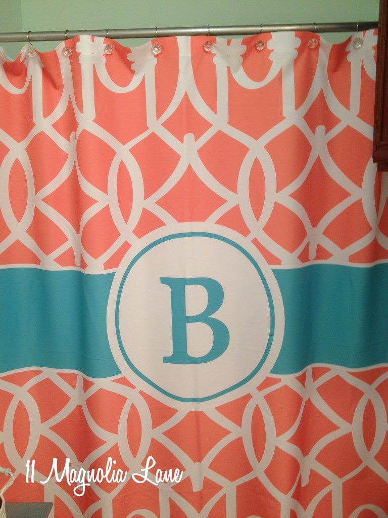 Shower curtains for girls - Monogrammed Shower Curtain Aqua Coral