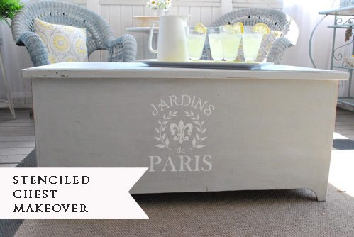 Porch Coffee Table Makeover {stenciled chest}