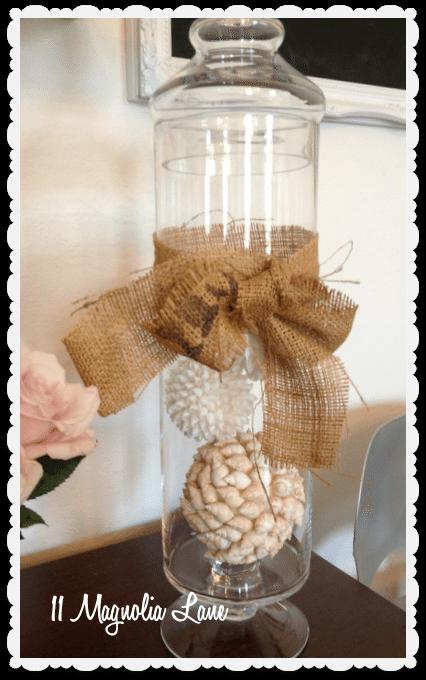 seashell balls in apothecary jar
