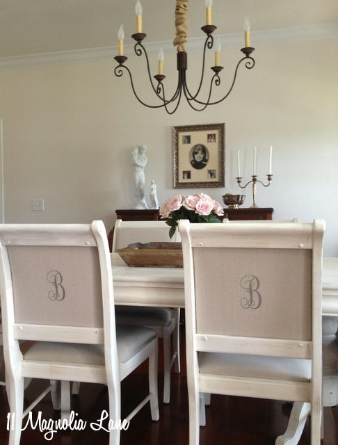 monogrammed chairs Cosette chandelier