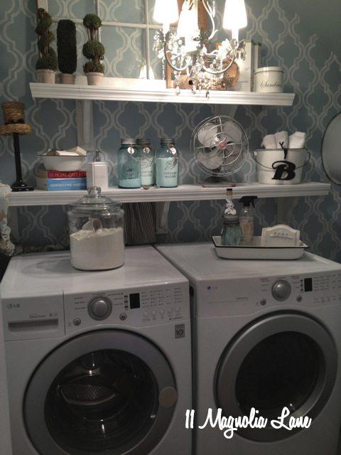 blue white laundry room chandelier