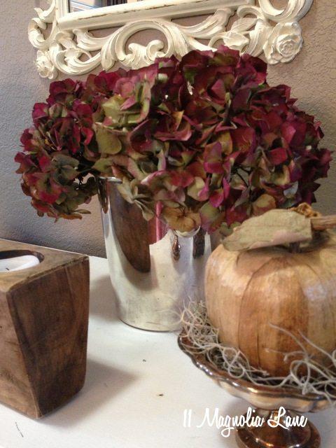 hydrangeas pumpkins