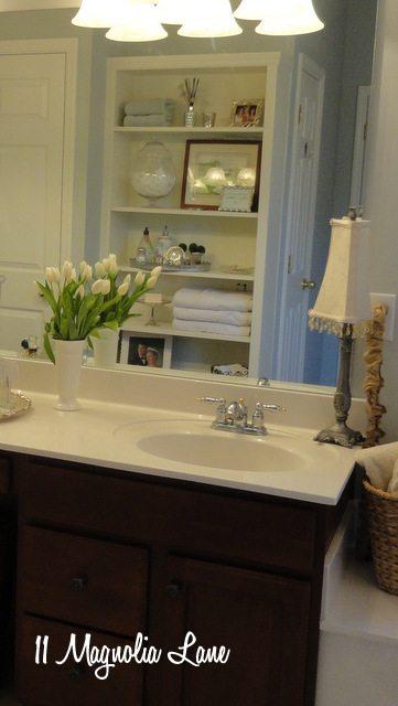master bathroom built ins chandelier