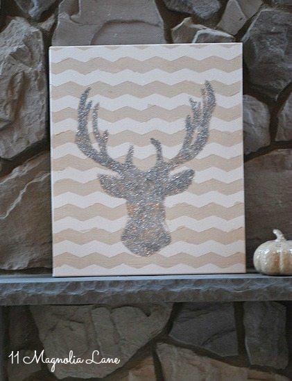 DIY Glitter Deer Head Art