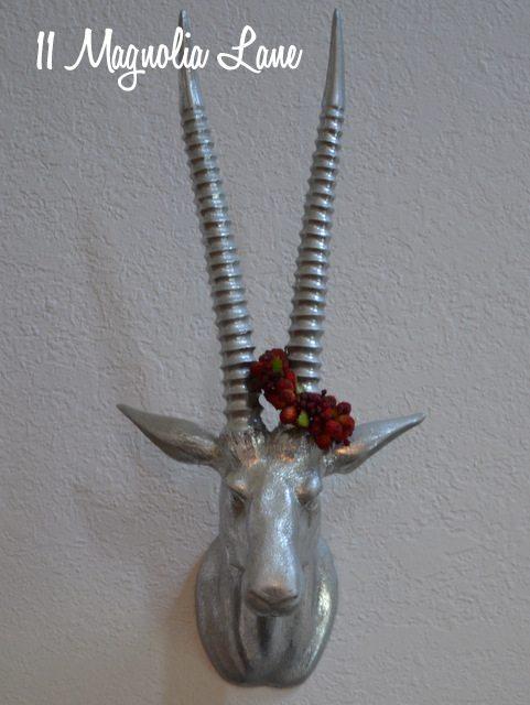 silver glitter deer head