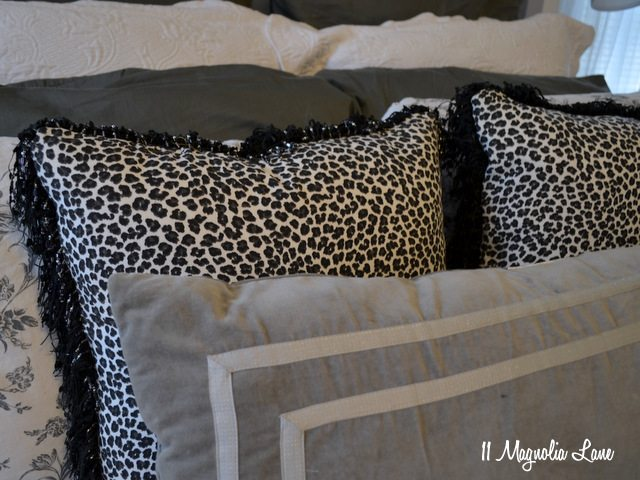 master bedroom gray black white pillows