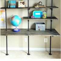 DIY Industrial Shelving & Desk {in a boy's room}