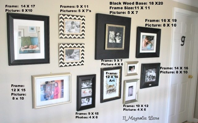 although i already owned most of the frames that i used i did purchase the large silver frame and the large black frame from target on clearance for under