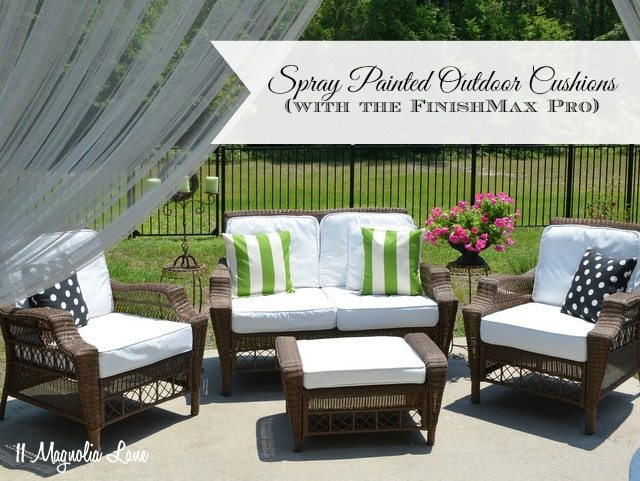 spray painted outdoor cushions