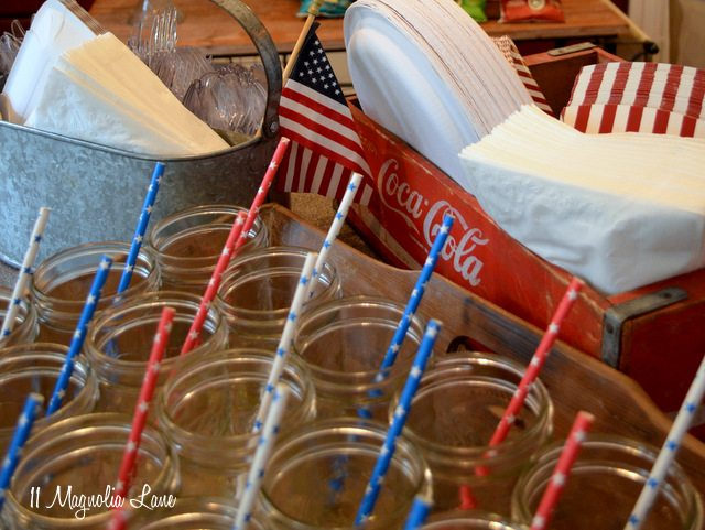 Mason jar glasses fourth of July
