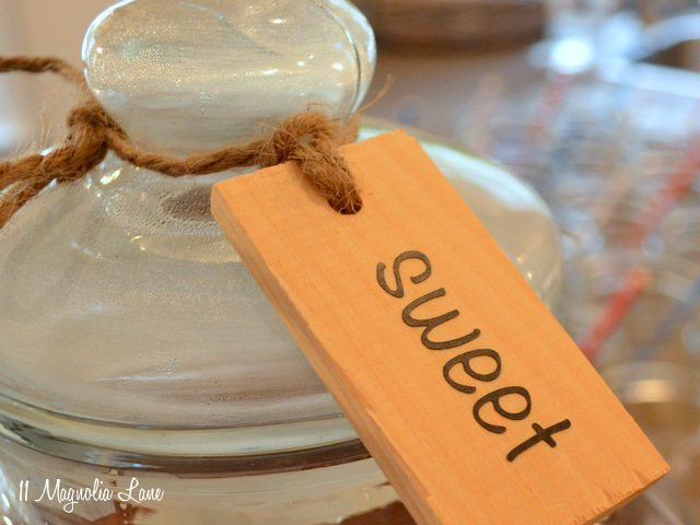 DIY wooden drink labels for entertaining