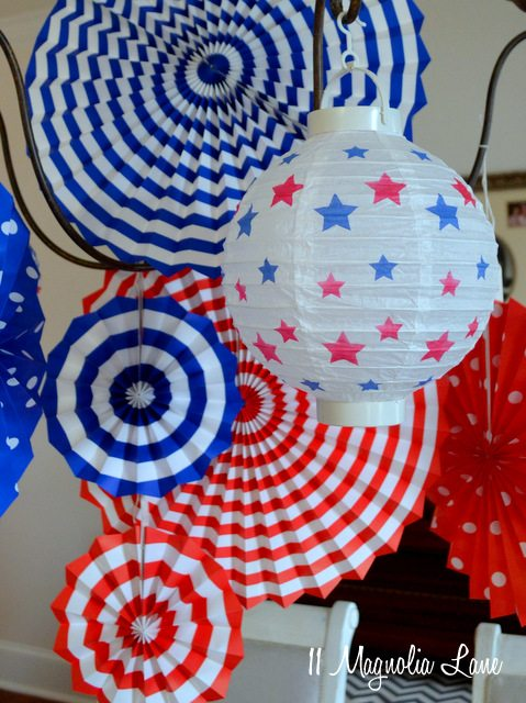 Red, white, & blue paper lanterns
