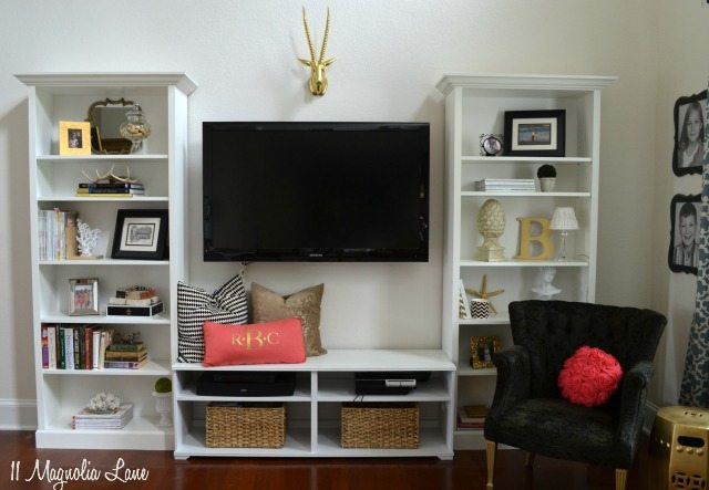 Our New Home:  Tutorial on Our DIY Living Room Built-In Shelves + Giveaway