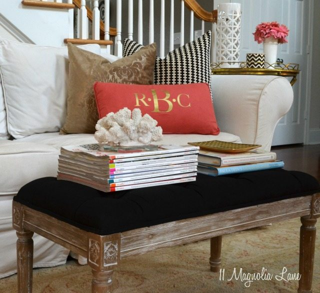 Glam living room--black, white, gold, and pink