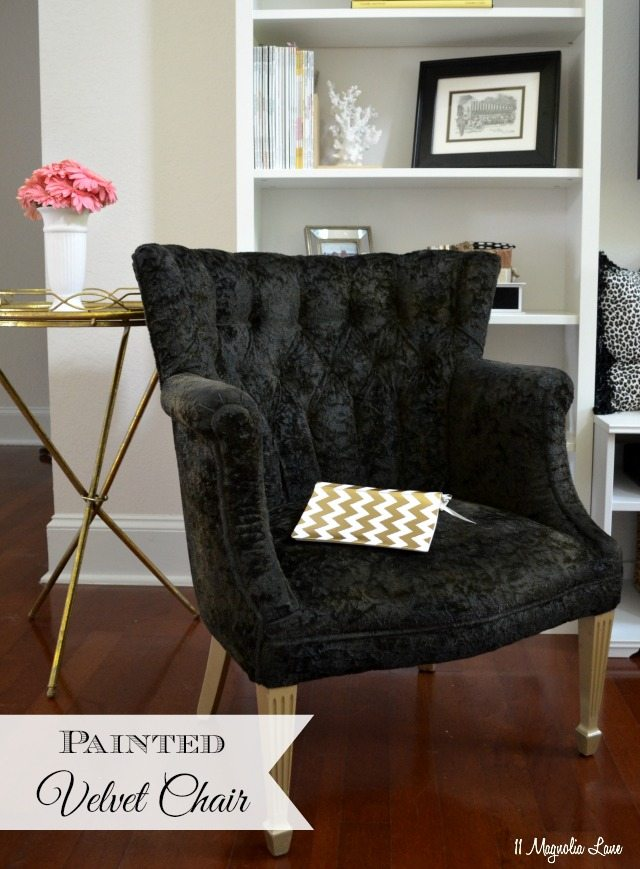 Painted fabric: black velvet thrift store chair