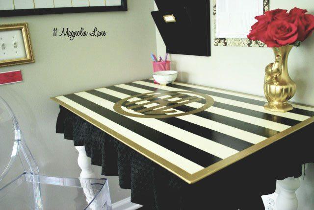 Black white and gold desk
