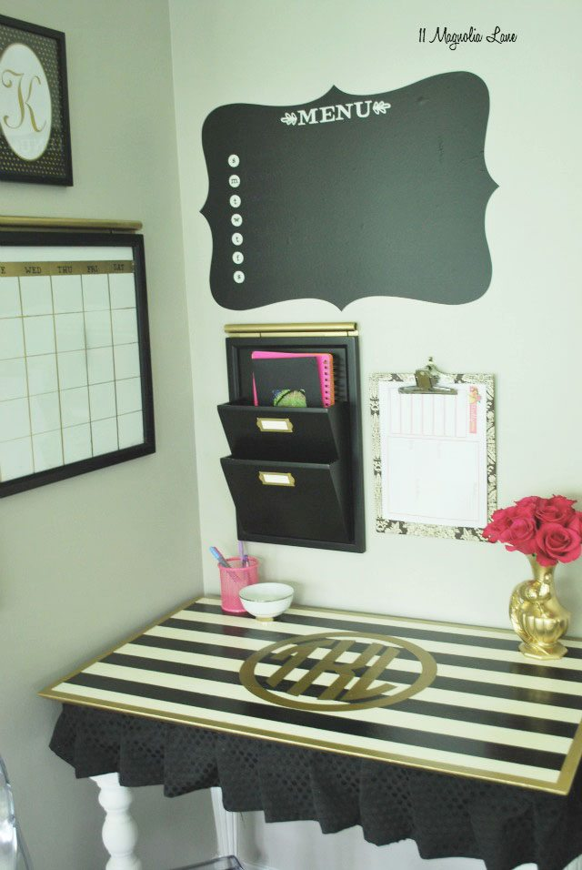 Black, white and gold desk