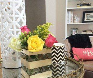 DIY Gold Striped Vase | 11 Magnolia Lane