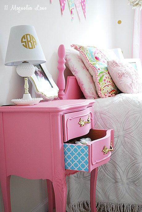 update a vintage nightstand with cute shelf paper for colorful surprise