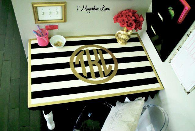 Gold Monogrammed Desk