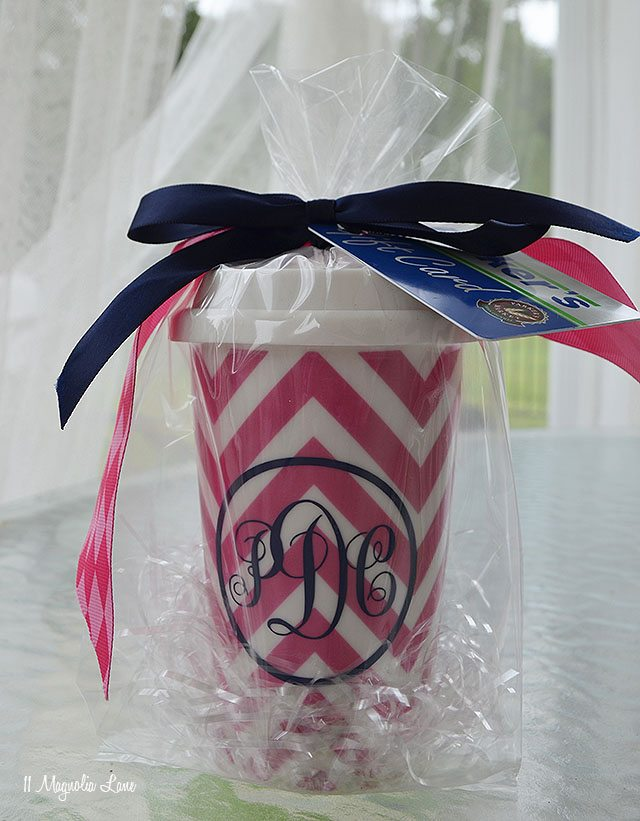 Monogrammed Travel Coffee Mug–Easy Gift Idea