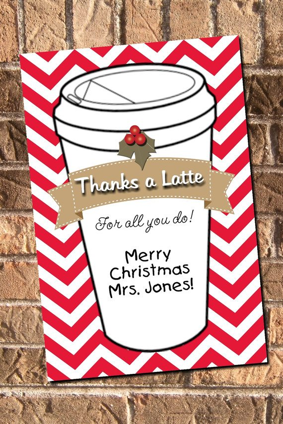 It is a photo of Playful Thanks a Latte Christmas Printable