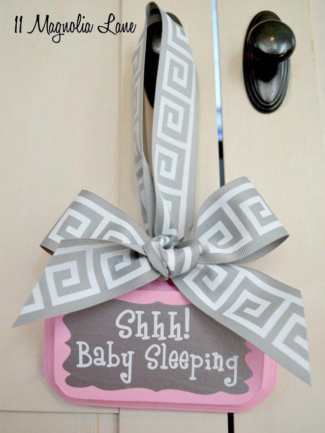 Pink and gray baby sleeping sign | 11 Magnolia Lane