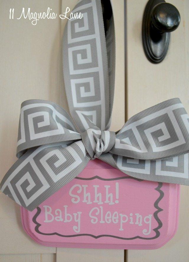 Pink and try baby sleeping door sign hanger | 11 Magnolia Lane