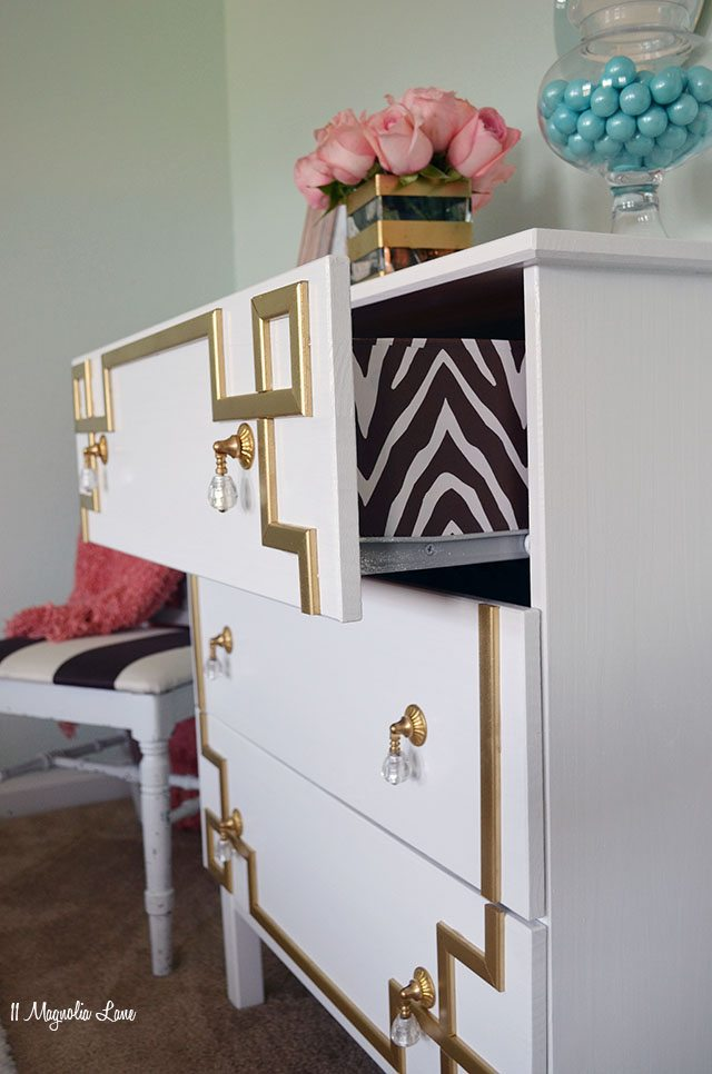 DIY Greek Key Overlay on IKEA Dresser | 11 Magnolia Lane