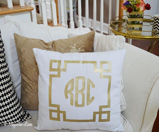 DIY Gold Greek Key Monogram Iron On for a Pillow | 11 Magnolia Lane