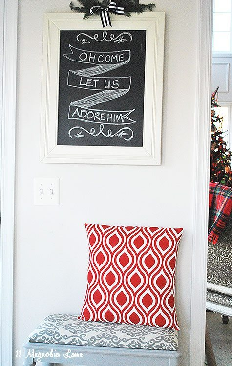 chalkboard with bench
