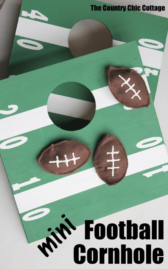 Mini football themed cornhole boards
