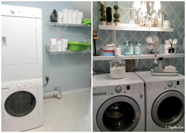 "Laundry room redo with painted quatrefoil ""wallpaper"" | 11 Magnolia Lane"