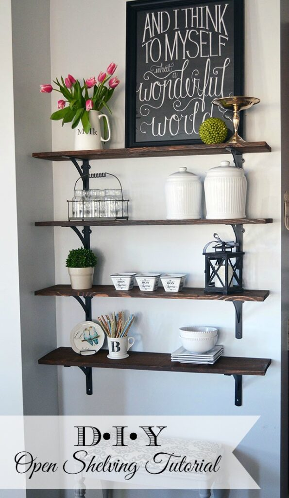 DIY Stained Open Shelving {and a Giveaway}