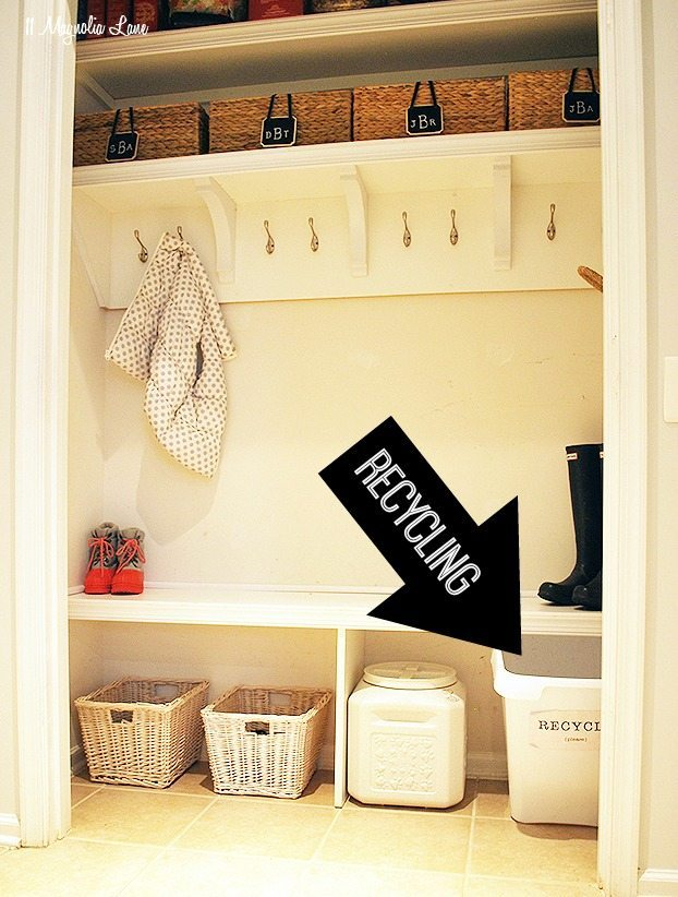 Recyling container in closet-turned-mudroom | 11 Magnolia Lane