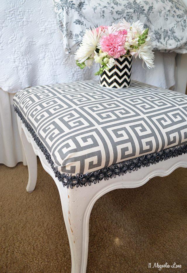Grey Greek Key Footstool