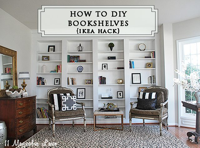 Header-library-bookshelves-ikea-hack-wide copy - How To Build DIY Built In Bookcases From IKEA Billy Bookshelves