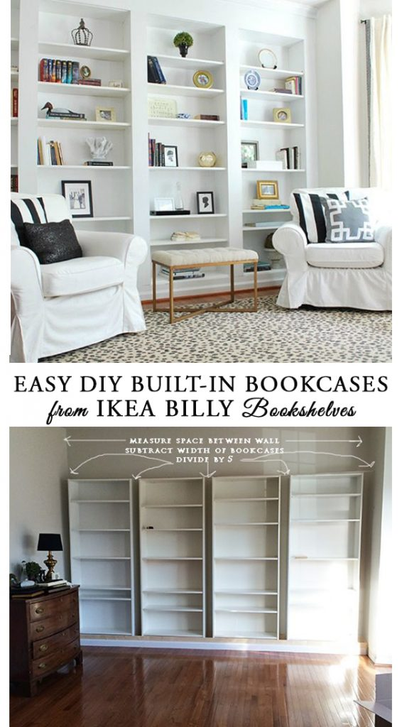 How To Easily DIY Built In Bookcases From IKEA Billy Book Shelves And Easy