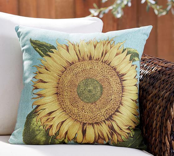 Pottery Barn outdoor sunflower pillow