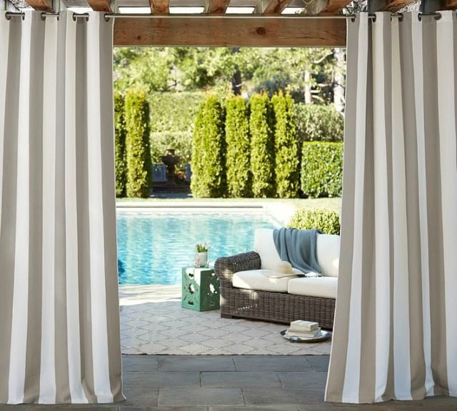 Pottery Barn striped outdoor curtains
