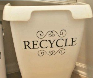 An easy DIY recycle bin--prettier than the ones they give you!